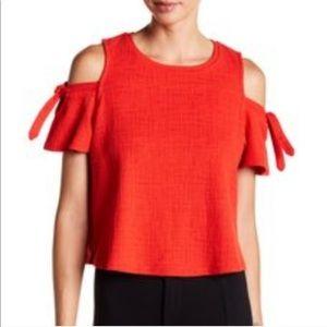 Madewell Red-Orange Skylark Cold Shoulder Tie Top